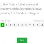 NPS Net Promoter Score online survey question