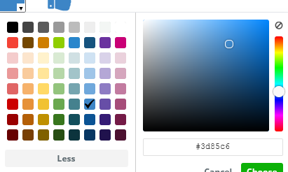 Color selector.  Choose from 64 standard colors or else make your own combination.