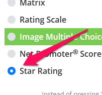 Choose the Star Rating question